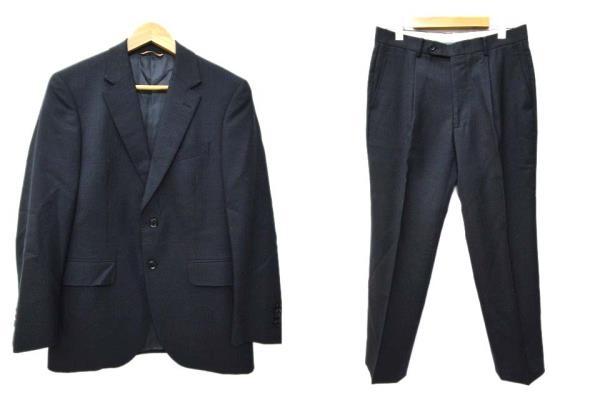 ドーメル DORMEUIL スーツ シングル 2B セットアップ テーラードジャケット スラックス 背広 90A4 ウール 濃紺 ネイビー ストライプ B91552 メンズ 【中古】【ベクトル 古着】 180525 ブランド古着ベクトルプレミアム店
