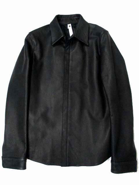 未使用品 ダブルジェイケイ wjk LEATHER SHIRTS spy washable leather レザーシャツジャケット 比翼 オリジナルシルバー釦 S 黒 4041 lc01s ※CP メンズ 【ベクトル 古着】【中古】 160103