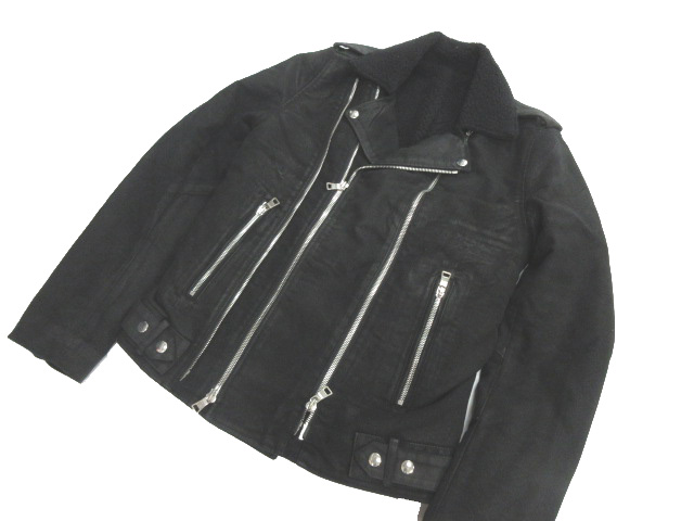 バルマン BALMAIN ライダースジャケット バイカー コットンジャケット 16AW ボア ジップアップ USED加工 XL 黒 W6HT265D575 【中古】【ベクトル 古着】 170903 ブランド古着ベクトルプレミアム店