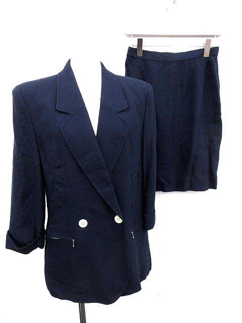 ac9516ecf7a6 ルネ Rene TISSUE スーツ セットアップ 上下 ジャケット スカート 11 ネイビー /KH レディース 【中古】