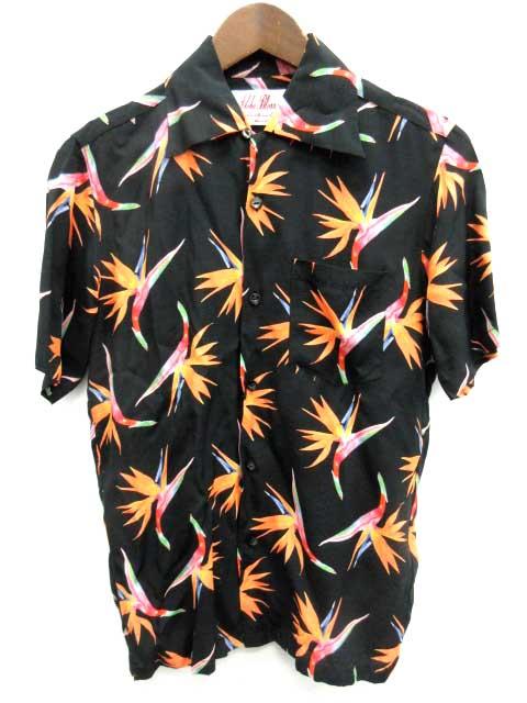 アロハ Aloha アロハブロッサム Aloha Blossom アロハシャツ 半袖 総柄 38 黒 オレンジ /YH メンズ 【中古】【ベクトル 古着】 180918 ブランド古着ベクトルプレミアム店