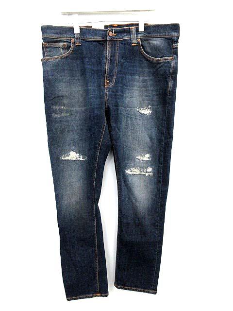 未使用品 ヌーディージーンズ nudie jeans デニムパンツ BRUTE KNUT ダメージ加工 36/32 インディゴ /☆G メンズ 【中古】【ベクトル 古着】 180919 ブランド古着ベクトルプレミアム店