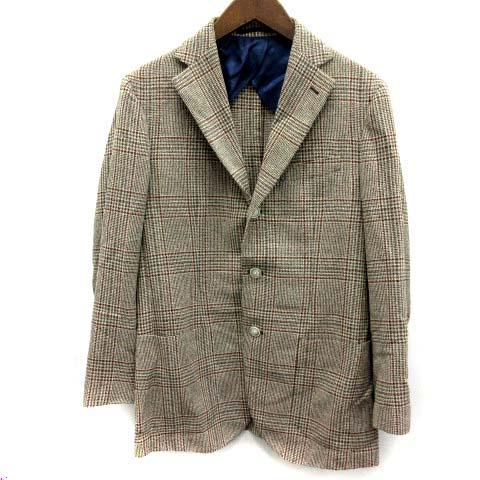【中古】 バルバ BARBA テーラードジャケット チェック シルク混 48 ブラウン /EK メンズ 【ベクトル 古着】 190403
