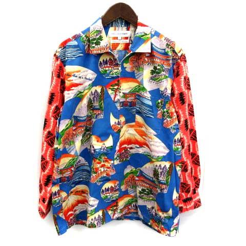 【中古】 コムデギャルソンシャツ COMME des GARCONS SHIRT シャツ ジャケット 和柄 総柄 ジップアップ 長袖 M マルチカラー /YM ■KRA メンズ 【ベクトル 古着】 190404