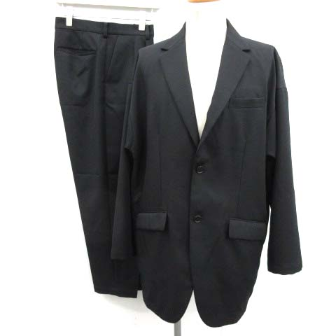 【中古】アンルート EN ROUTE スーツ セットアップ 上下 ジャケット パンツ 2 黒 ブラック /EK メンズ 【ベクトル 古着】 200428 ベクトルプレミアム店