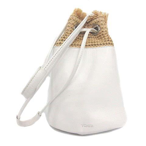 中古 ヨンファ YONFA ハンドバッグ ショルダー 巾着 レザー ラフィア 白 ベクトル ホワイト 2 並行輸入品 古着 210830 ベージュ 公式ショップ レディース YM