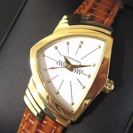 【中古】 ハミルトン HAMILTON 腕時計 ベンチュラ 60周年記念 復刻モデル クォーツ H24101511 ステンレス レザー ゴールド 茶 レディース 【ベクトル 古着】 190401