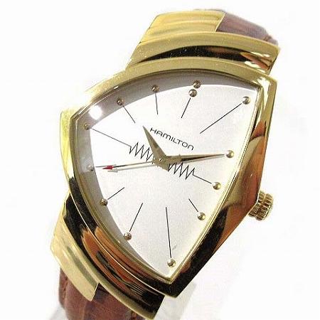 【中古】 ハミルトン HAMILTON 腕時計 ベンチュラ 60周年記念 復刻モデル クォーツ H24301511 ステンレス レザー ゴールド 茶 メンズ 【ベクトル 古着】 190401
