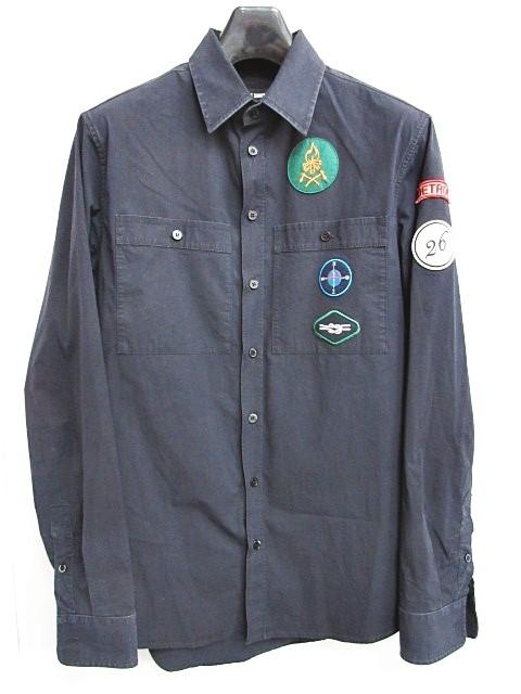 ラフシモンズ RAF SIMONS 16aw detroit work shirt シャツ 長袖 ストレッチ ワッペン ネイビー 紺 44 0614 メンズ 【中古】【ベクトル 古着】 180614 ブランド古着ベクトルプレミアム店