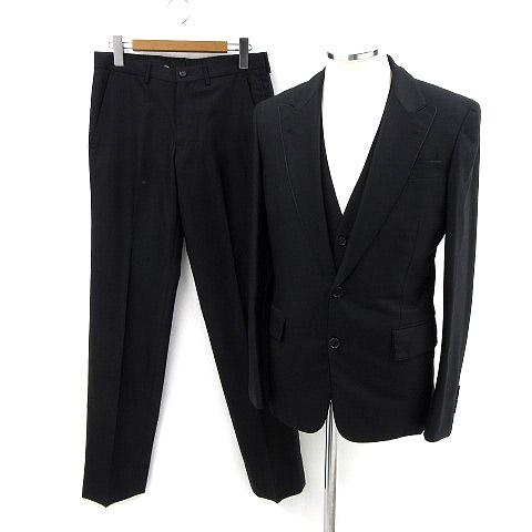 トゥモローランド TOMORROWLAND スーツ 3点セット ジャケット パンツ ベスト ウール 黒 180508 メンズ 【中古】【ベクトル 古着】 180508 ブランド古着ベクトルプレミアム店