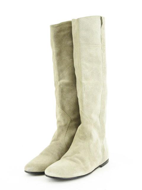 ファビオルスコーニ FABIO RUSCONI ブーツ ロング スエード フラット 39 グレー レディース 【中古】【ベクトル 古着】 171020 ブランド古着ベクトルプレミアム店