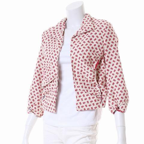 マルニ MARNI プリントデザインジャケット M ベージュ×赤 レディース 【ベクトル 古着】【中古】