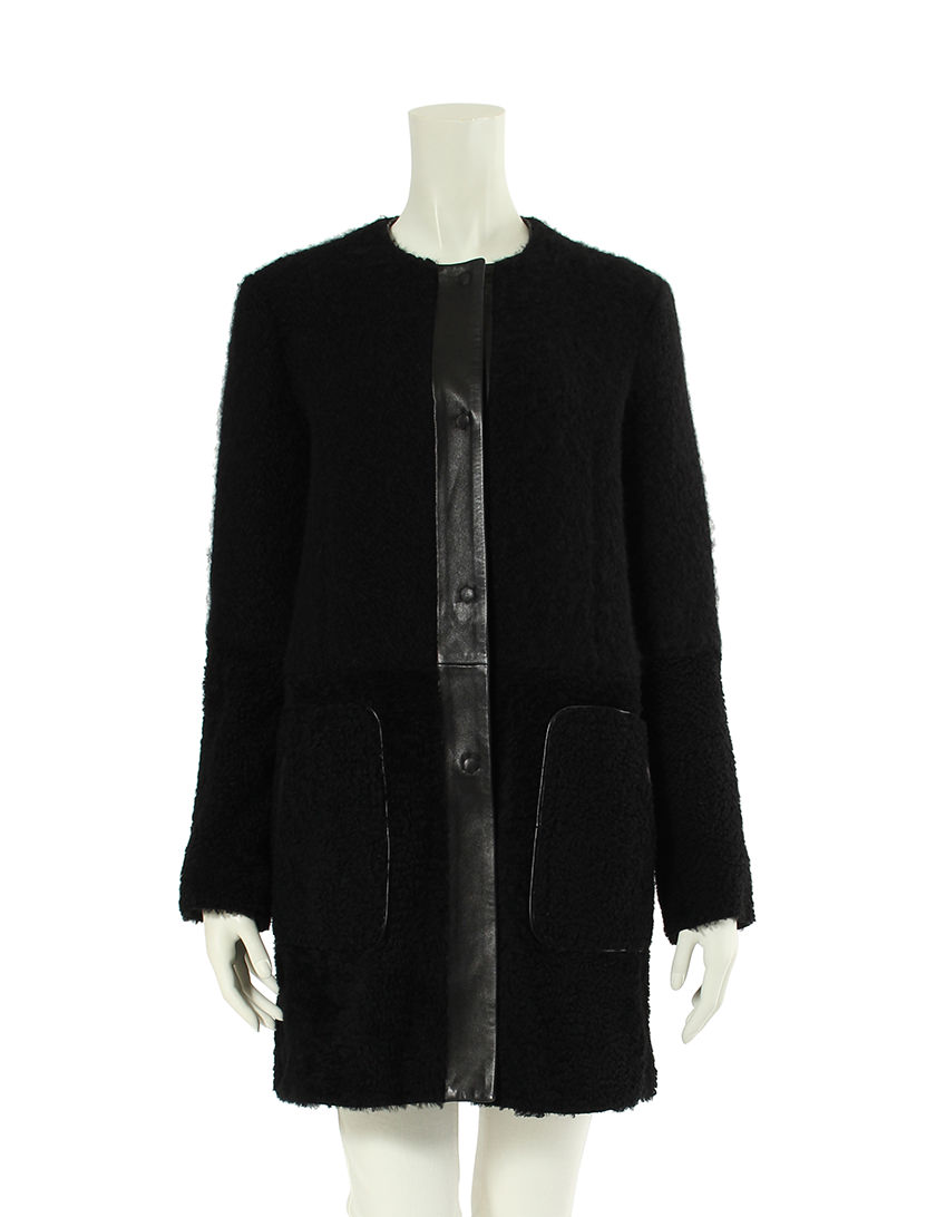 ドローム DROMe ノーカラー ロング コート アウター S ウール 羊革 黒 レディース 【ベクトル 古着】【中古】