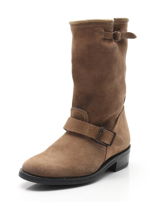 バルマン BALMAIN ブーツ ベージュ 40 シューズ 25cm スエード ベルト メンズ 【中古】【ベクトル 古着】 ブランド古着ベクトルプレミアム店