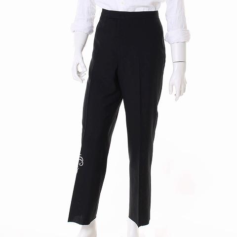 リバティーン Libertine パンツ ストレート ドクロプリント 黒 メンズ 【ベクトル 古着】【中古】