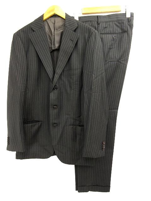 トゥモローランド TOMORROWLAND スーツ セットアップ ストライプ 茶 ブラウン 50 メンズ 【中古】【ベクトル 古着】 180502 ブランド古着ベクトルプレミアム店