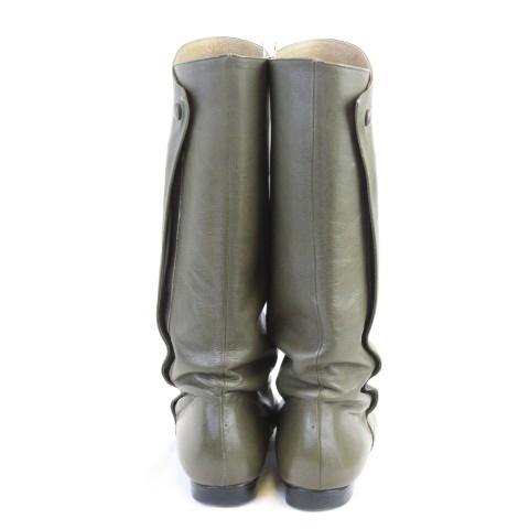 イッセイミヤケ ISSEY MIYAKE ロング レザー ブーツ ポインテッドトゥ フラット ジップ カーキ系 24cm AS1204 レディースベクトル 古着191204 ベクトルプレミアム店vmw0nN8