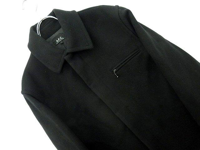 アーペーセー A.P.C. コート ステンカラー 隠しボタン 無地 フロントポケット 1 黒 メンズ 【ベクトル 古着】【中古】 160830