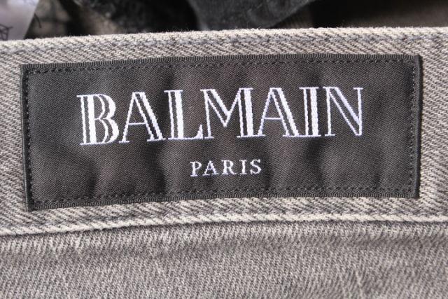 バルマン BALMAIN 17SSパンツデニム ジーンズ サイドプリーツ 27 グレー aan0405 メンズベクトル 古着190405tChrsQxd