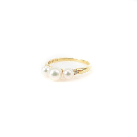 【中古】 タサキ 田崎 TASAKI リング 指輪 パール K18 ダイヤモンド 0.02 10号 ゴールド アクセサリー cmy0424 レディース 【ベクトル 古着】 190424