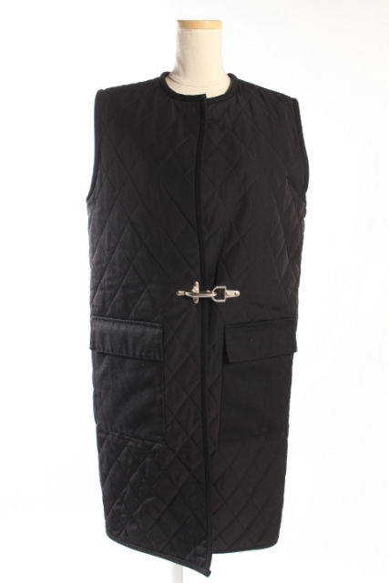 【中古】 ノミア NOMIA ベスト ジャケット キルティング 中綿 ロング XS 黒 ブラック /au0424 レディース 【ベクトル 古着】 190424