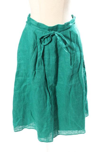 中古 ナチュラルビューティーベーシック NATURAL BEAUTY BASIC 17SS カラーリネン タック スカート 古着 結婚祝い M ☆o0515 緑 低価格 190515 レディース ベクトル グリーン