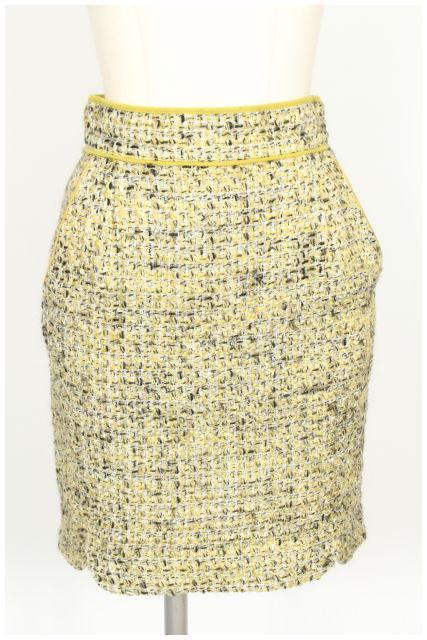 中古 アプワイザーリッシェ Apuweiser-riche スカート ツイード ミニ 0 ベクトル 絶品 レディース 黄 イエロー 190515 ☆o0515 SEAL限定商品 古着