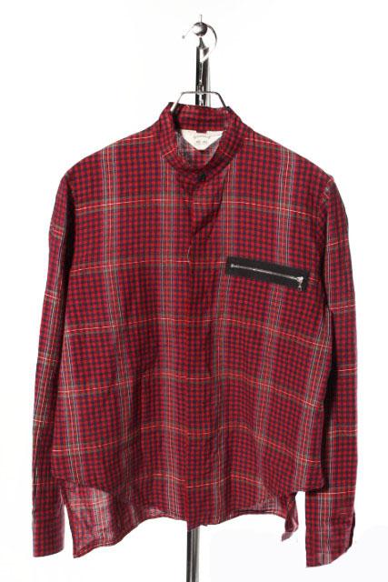 【中古】 サンシー SUNSEA シャツ チェック 長袖 ポケットジップ 1 赤 レッド /tk0516 メンズ 【ベクトル 古着】 190516