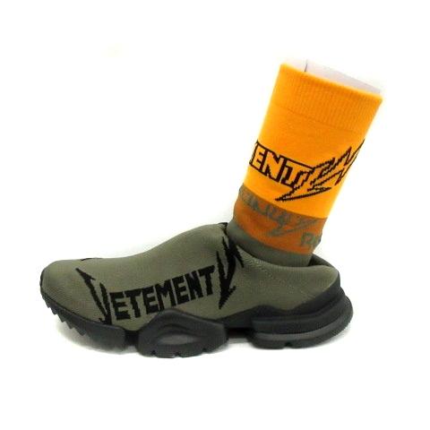 ヴェトモン ベトモン VETEMENTS Reebok シューズ スニーカー ソックスシューズ high-top sock trainers 25.5 緑 カーキ /KS19 メンズ 【中古】【ベクトル 古着】 190308 ブランド古着ベクトルプレミアム店