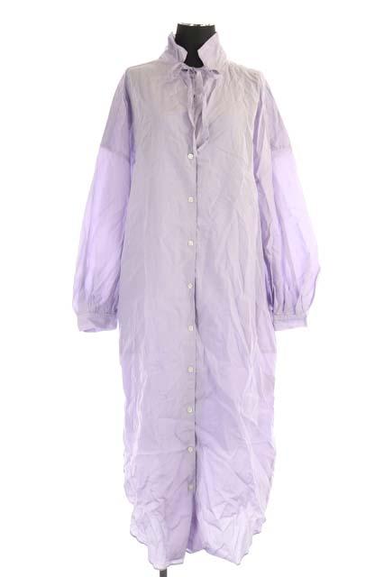 中古 ノーブル NOBLE 21SS ワンピース シャツ マルチWAY ロング 長袖 ■OS 210601 高品質 古着 薄紫 ベクトル パープル 在庫一掃売り切りセール レディース AO