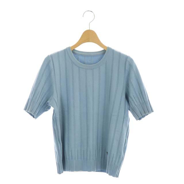 中古 メーカー公式 フォクシー FOXEY KnitTop Strata ニット セーター プルオーバー ブランド買うならブランドオフ 半袖 40 水色 ベクトル 41268 レディース ■OS 210804 古着 DF