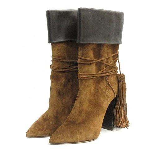 【中古】サンローラン パリ SAINT LAURENT PARIS Tangier 105 Ankle Boots ブーツ ショート ポインテッドトゥ スエード 36 茶 ブラウン /AK32 レディース 【ベクトル 古着】 200415 ベクトルプレミアム店