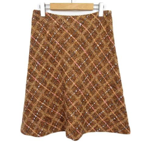 中古 ハロッズ Harrods スカート 往復送料無料 フレア ツイード チェック 人気ブランド ウール ブラウン 210126 ベクトル 古着 ベクトルプレミアム店 茶 3 レディース