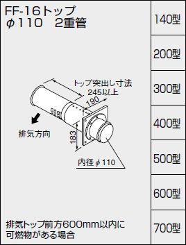 NORITZ(ノーリツ) 給排気トップ FF-16トップφ110 二重管 300型 壁厚200~300ミリ 0794003