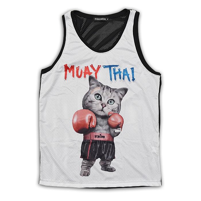 即日発送 送料無料 ムエタイキャット メッシュ タンクトップ 猫 ボクシング メッシュ素材 白 S M BOXING テレビで話題 トレーニングウェア 定価の67%OFF XLサイズ メンズ L MUAYTHAI ねこ ネコ