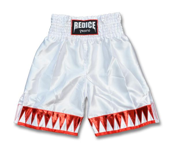 ボクシングトランクス REDICE 白 赤 S/M/L/XL ムエタイパンツ キックボクシング ボクシングパンツ ロングタイプ 子供用 大人用 ホワイト
