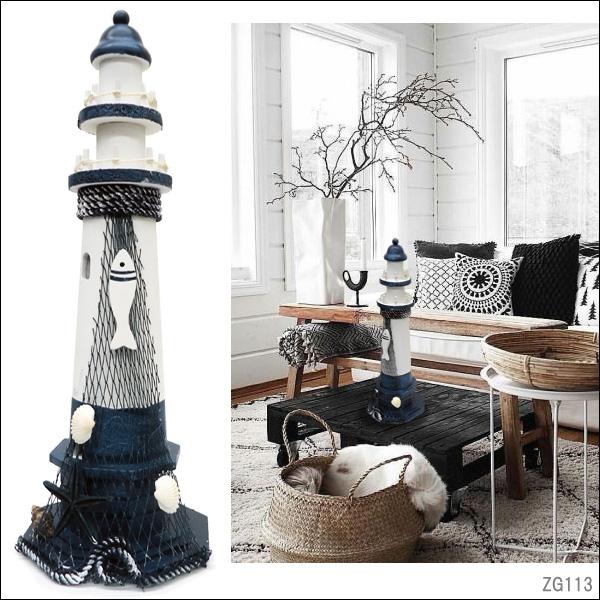 マリンモチーフのオブジェ 送料無料 SALENEW大人気 灯台 オブジェ 2020 38cm マリン ビーチ インテリア 雑貨 アンティーク ヒトデ 貝殻 置物 白い灯台