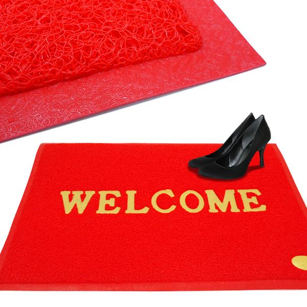 丸洗いOK 玄関マット 新商品!新型 品質検査済 WELCOME エルカムマット 店舗業務用 赤 90×60センチ Lサイズ