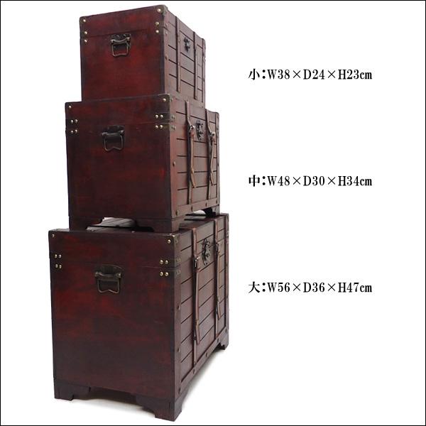 特大サイズ 大中小3個セット 海賊宝箱 F アンティーク調収納BOX 船舶トランク 木箱
