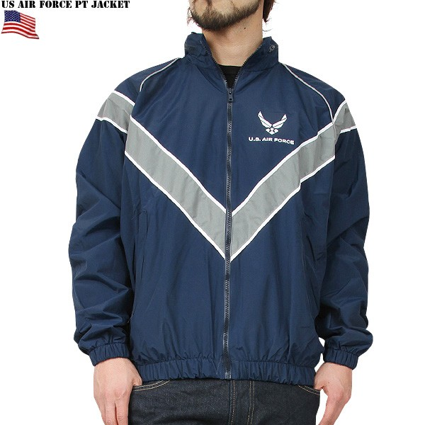 In real new U.S. air force AIR FORCE PTU jacket NAVY military rare training windbreaker positive side & back side features WIP 10P09Jan16's V-shaped reflector