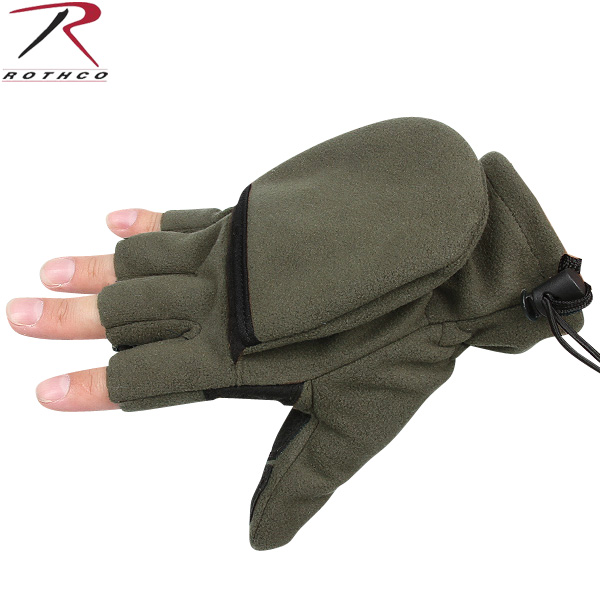 Fleece Sniper Fingerless Gloves Mittens Olive Drab or Black Glove