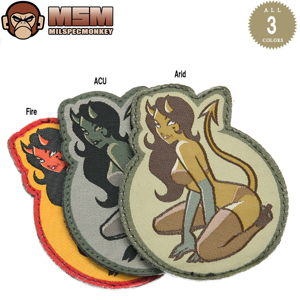 Any mil-spec MONKEY mil-spec Monkey patches (patch) Devil Girl Wovend Fire jokes patch in the famous mil-spec Monkey patches bag or jacket Velcro Panel allows custom mss WIP various men's