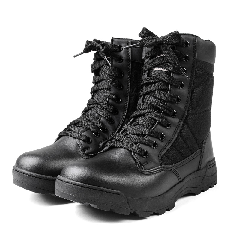 Military boots brand new SWAT side Sipper tactical boots COBRA type black military boots sabage boot military boots