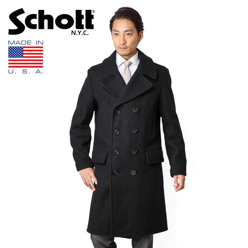 【あす楽】Schott ショット 714US ロングメルトンピーコート NAVY 7331 WIP メンズ ミリタリー アウトドア ブランド【クーポン対象外】【入】 キャッシュレス 5%還元 新生活応援 衣替え