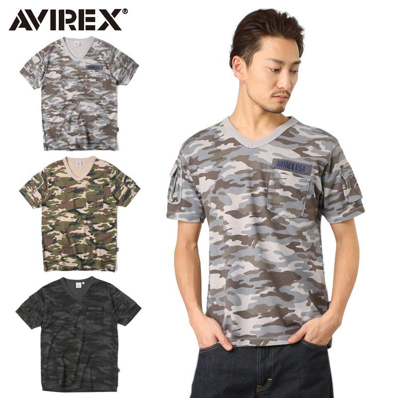 AVIREX アビレックス 6153347 FATIGUE VネックTシャツ CAMO ブランド WIP メンズ ミリタリー【クーポン対象外】 ミリタリーシャツ キャッシュレス 5%還元