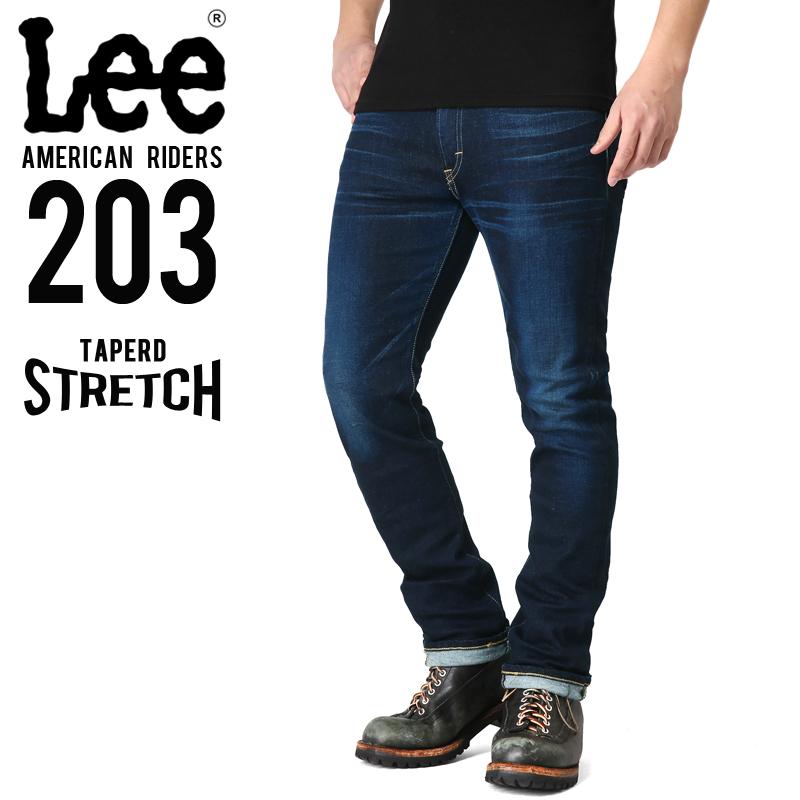 只今20%OFF◆Lee リー AMERICAN RIDERS 203 テーパードストレッチ パンツ 濃色ブルー【LM5203-626】 WIP メンズ ミリタリー アウトドア【新生活 新学期 買い替えに】