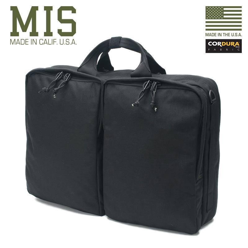 MIS エムアイエス MIS-1029 CORDURA NYLON 3ウェイ ブリーフバッグ / リュックサック MADE IN USA - BLACK(クーポン対象外) 新生活応援 衣替え 春