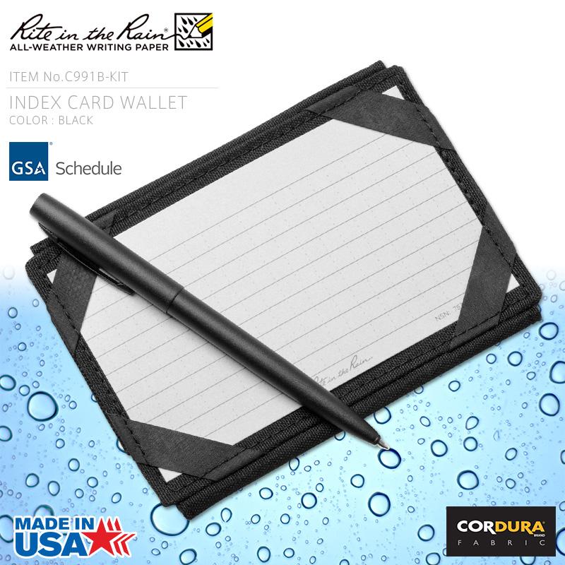 店内20%OFF◆Rite In the Rain ライトインザレイン 米軍使用 INDEX CARD WALLET 防水タクティカルカードウォレット BLACK(C991B-KIT) WIP メンズ ミリタリー アウトドア キャッシュレス 5%還元