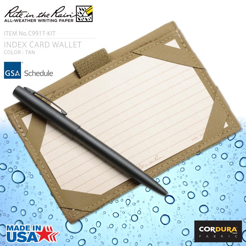 店内20%OFF◆Rite In the Rain ライトインザレイン 米軍使用 INDEX CARD WALLET 防水タクティカルカードウォレット TAN(C991T-KIT) WIP メンズ ミリタリー アウトドア キャッシュレス 5%還元