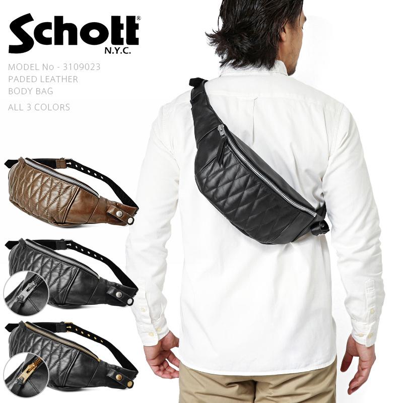 Schott ショット 3109023 パデッドレザーボディバッグ ブランド【新生活 新学期 買い替えに】 WIP メンズ ミリタリー【クーポン対象外】